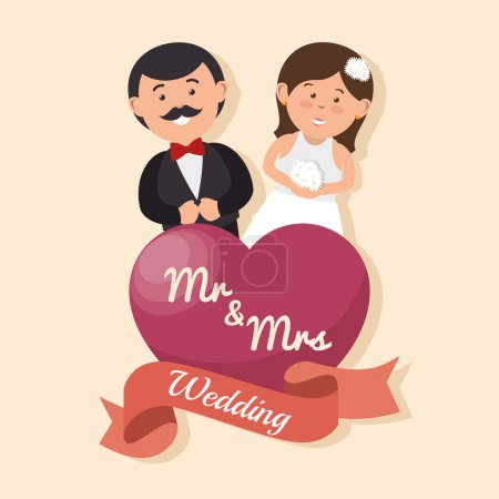 Illustration pour Carte de mariage couple heureux avec coeur mr conception Mme, illustration vectorielle graphique - image libre de droit