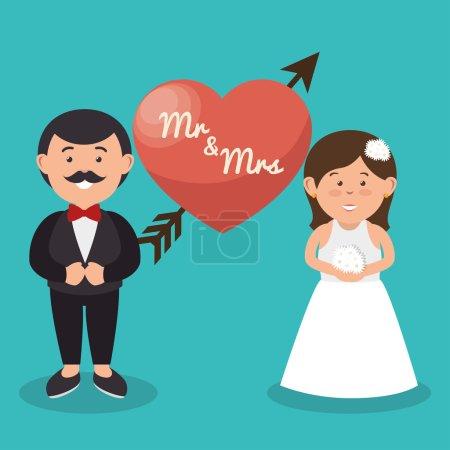 Illustration pour Mr et Mme couple coeur conception de mariage, illustration vectorielle graphique - image libre de droit