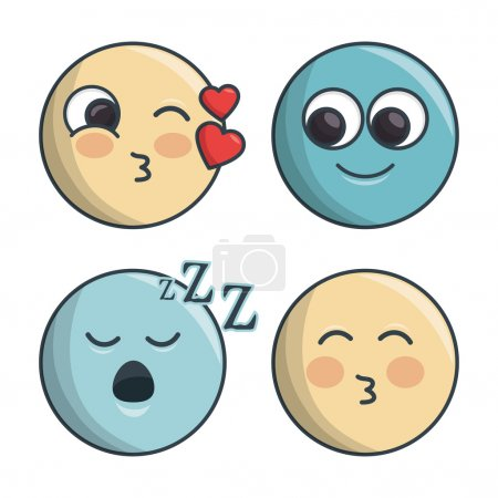 set emoticons differents feelings and expression