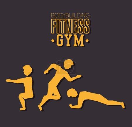 Poster bodybuilding fitness gym design vector illu...