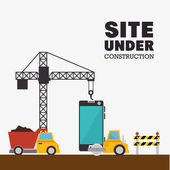 site under construction mobile and truck machinery