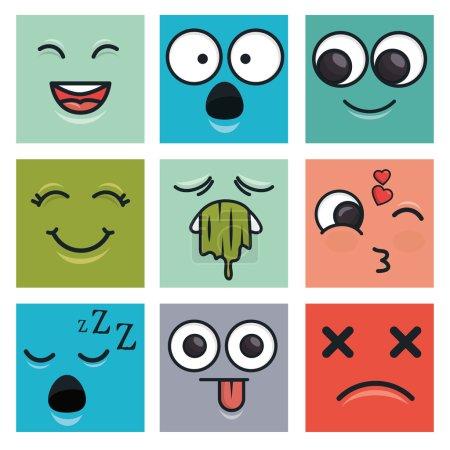 Illustration for Set emoticons faces vector ilustration eps 10 - Royalty Free Image