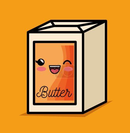 Illustration for Butter kawaii breakfast cooking vector illustration eps 10 - Royalty Free Image