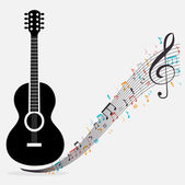 Traditional guitar treble clef notes vector illustration eps 10