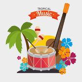 poster tropical music dumb guitar maraca palm and flower