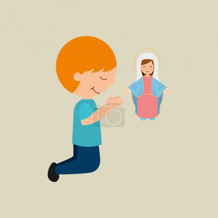 cute boy blessed on bible desing icon