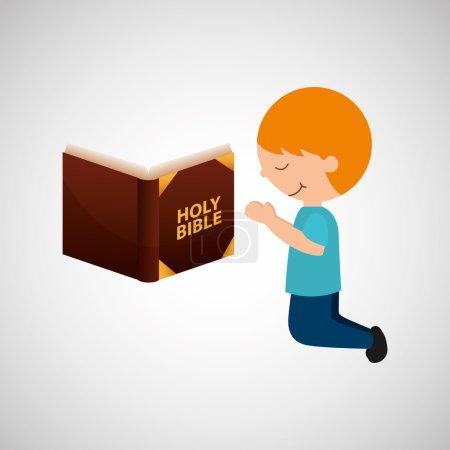 boy kneeling bleesed bible icon