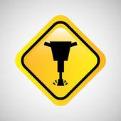 jackhammer construction icon metal yellow design