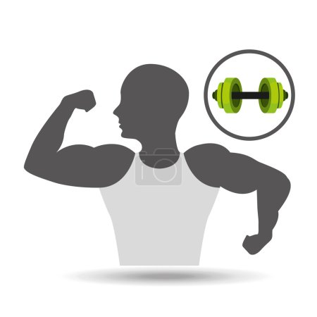 Strong man silhouette and barbell