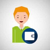 Muž turistické cestovní peněženka peníze design grafika