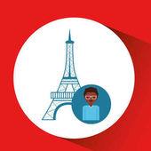 Karakter nő utas Párizs ikon tervező grafikus