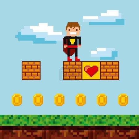 Verpixelte Videospielsymbole