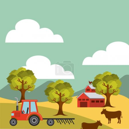Illustration for Agriculture production landscape icon vector illustration design - Royalty Free Image