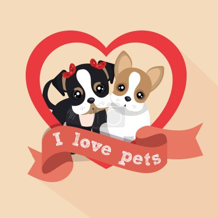 label i love pets female male doggy heart