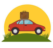 red car suitcase travel grass sun