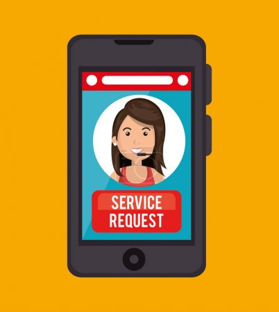 Illustration pour Demande de service centre d'appel fille vecteur illustration eps 10 - image libre de droit