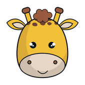 Cute giraffe animal kawaii style vector illustration design