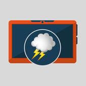 Mobilní technologie. Předpověď počasí mrak blesk ikonu obrázek