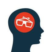 Silhouette head concept cinema glasses vector illustration eps 10