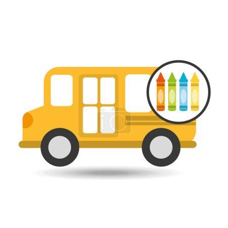 school bus icon crayons graphic