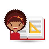 cute girl open book study ruler squad