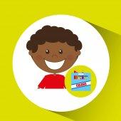 šťastný chlapec student barevný box grafika
