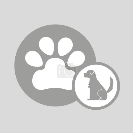 Silhouette dog paw icon vector illustration eps 10...