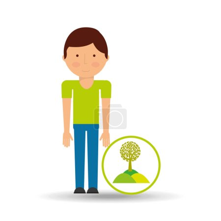 Illustration for Environment icon boy with nature tree vector illustration eps 10 - Royalty Free Image