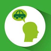 Eco silhouette green head vehicle vector illustration eps 10