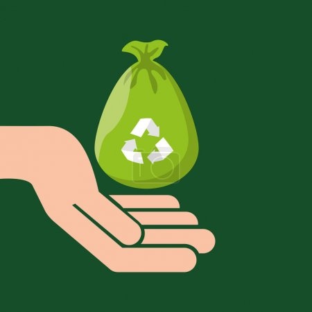 Illustration for Plastic bag recycled hand hold icon vector illustration eps 10 - Royalty Free Image