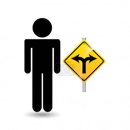 Road sign fork silhouette man