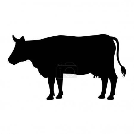 Illustration pour Vache animal ferme icône vecteur illustration conception - image libre de droit