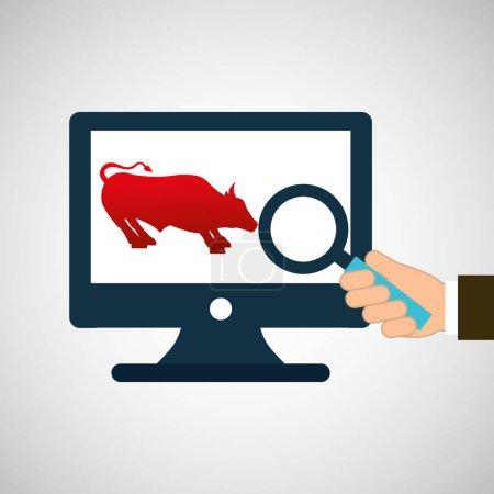 exchange market bull icon design