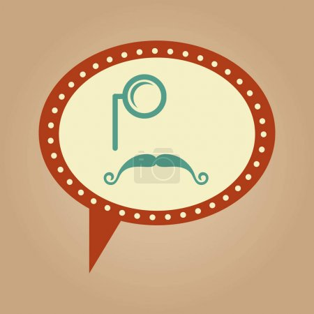 symbol hipster monocle and long mustache