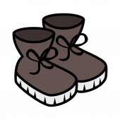 Winter boots shoes icon vector illustration design
