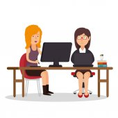 Girls team office workplace computer vector illustration eps 10