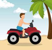 man drive atv on beach