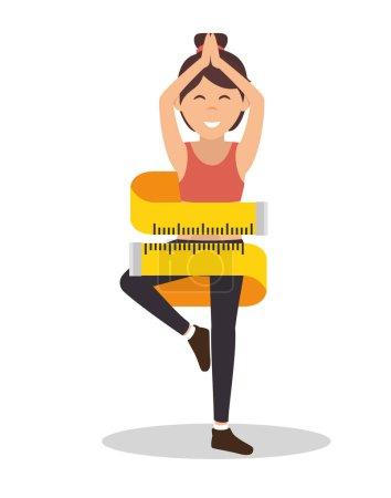 cartoon girl measuring lose weight