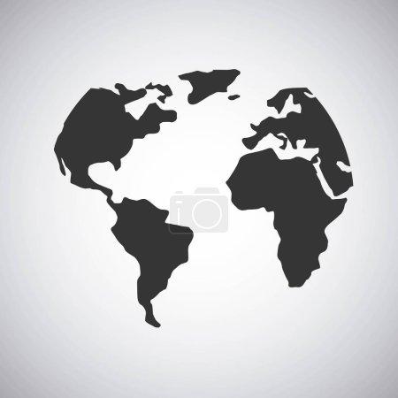 Illustration for Balck world map over white background. vector illustration - Royalty Free Image