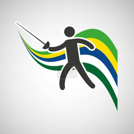fencing sportsman flag background design