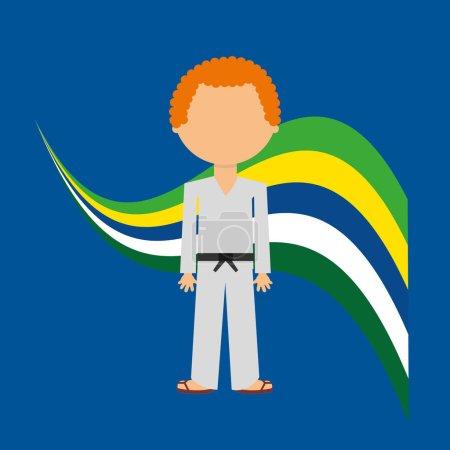 Cartoon taekwondo player brazilian label