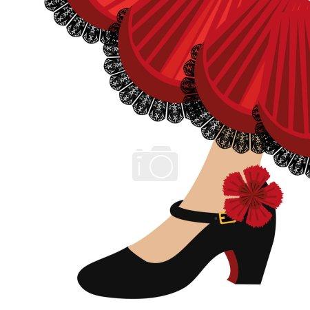 Illustration pour Flamenco traditionnel chaussures icône vector illustration design - image libre de droit