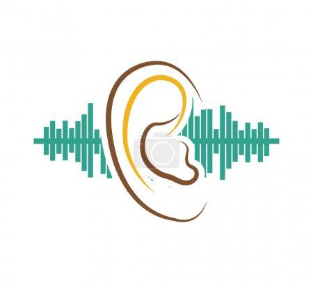 Illustration for Ear audio organ icon vector illustration design - Royalty Free Image