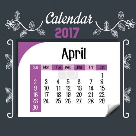 Illustration for Calendar april 2017 template icon vector illustration design - Royalty Free Image