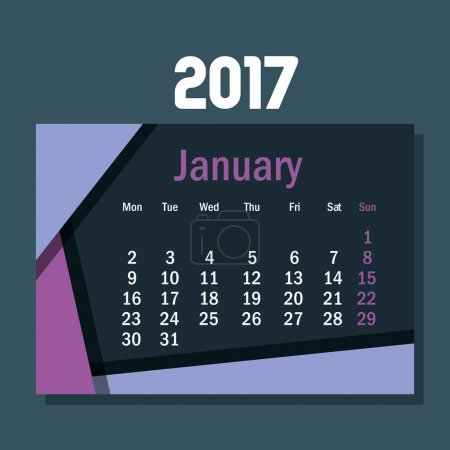 calendar january 2017 template icon
