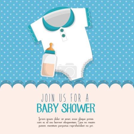 Baby shower invitation card vector illustration de...