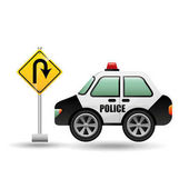 car police with u-turn road