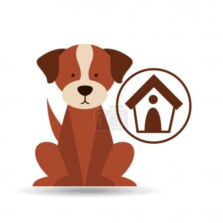 Veterinary dog care house dog icon