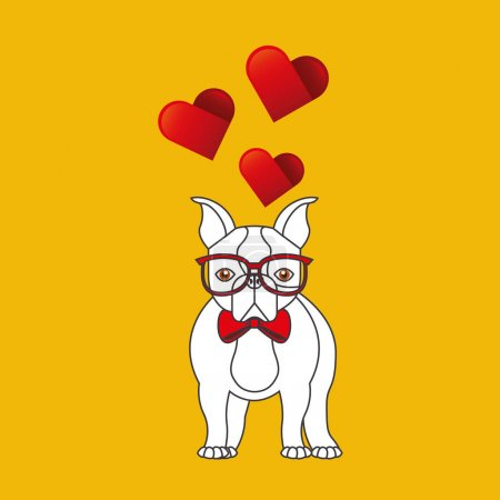 Illustration for Cute couple dog pet with glasses bow heart background vector illustration eps 10 - Royalty Free Image