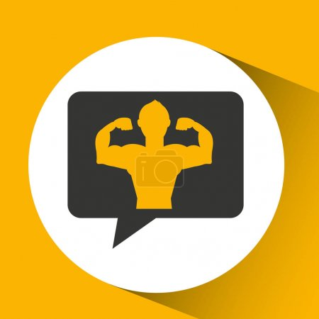 Man body builder sport emblem laurel branch